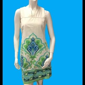 London Times Blue Green Floral Sleeveless Dress